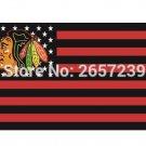 Chicago Blackhawks stripes and stars Flag 3x5FT NHL banner 100D 150X90CM Polyester