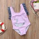 One Piece Kid Baby Girls Swan Swimwear Swimsuit Fused Monokini 2018 New child bather Swimming