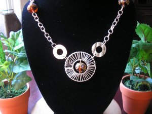 Silver plated FUN necklace with lampwork beads.