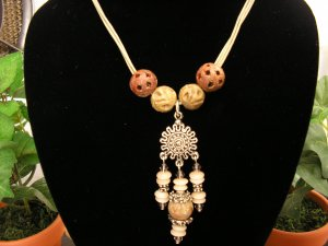 Cotton Cord necklace with pewter, soapstone, shell and autumn jasper