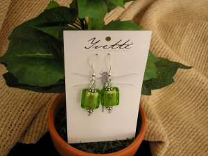 Sterling silver with bright green foiled press glass bead