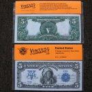 $5 Silver Certificate 1899 UNC Crisp Reproduction New Sealed Retail Dollar Bill (Medium)