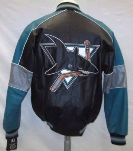 San Jose Sharks Men Small Full-Zip Embroidered Leather Jacket NHL Black