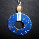 Gold stars in blue sky sweater necklace
