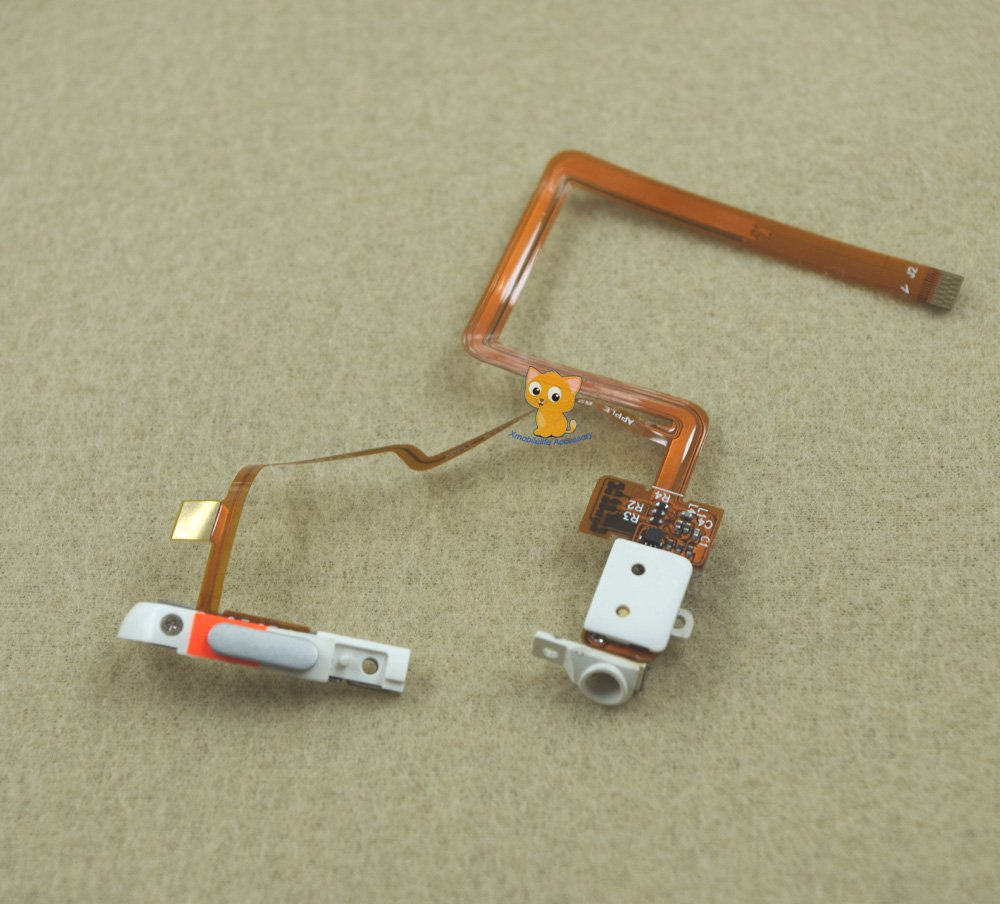 White Headphone Audio Jack Hold Switch Flex Ribbon Cable for iPod 5th gen Video 30GB