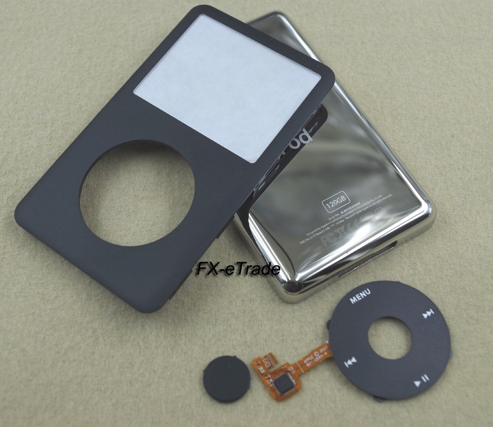 Black Front Faceplate Cover Back Housing Case Clickwheel Button for iPod 6th gen Classic 120GB