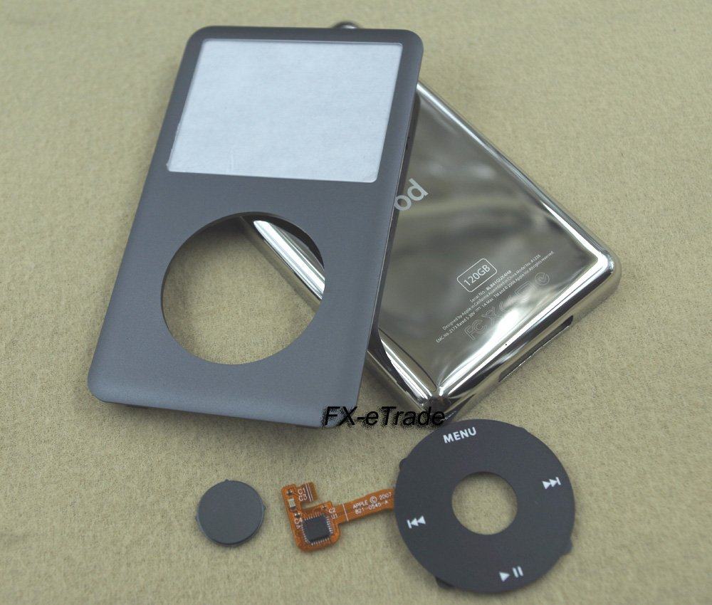 Gray Front Faceplate Cover Back Housing Case Clickwheel Button for iPod 6th gen Classic 120GB