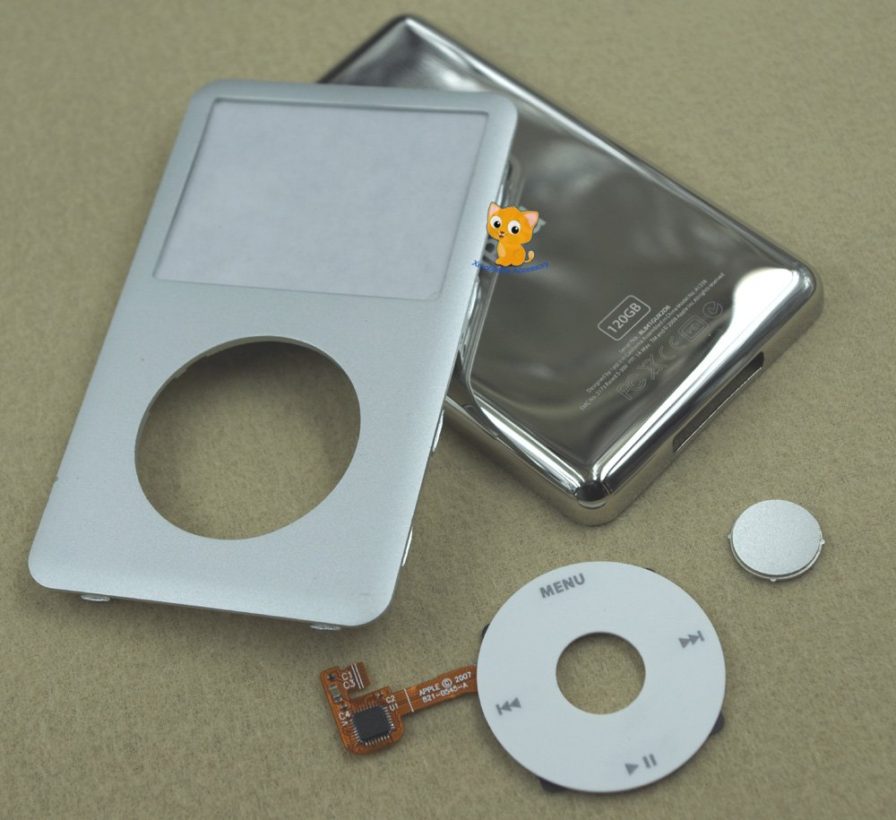 Silver Front Faceplate Cover Back Housing Case White Clickwheel for iPod 6th gen Classic 120GB