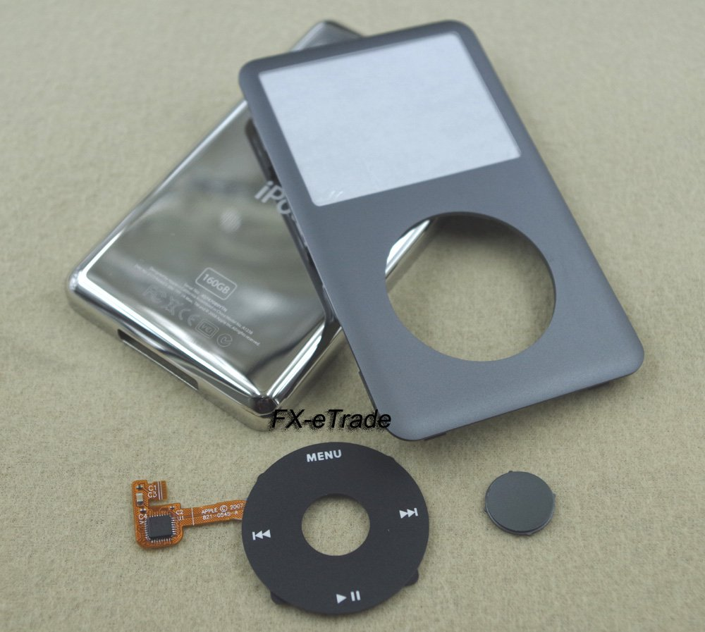 Gray Front Faceplate Cover Back Housing Case Clickwheel Button for iPod 7th gen Classic Thin 160GB