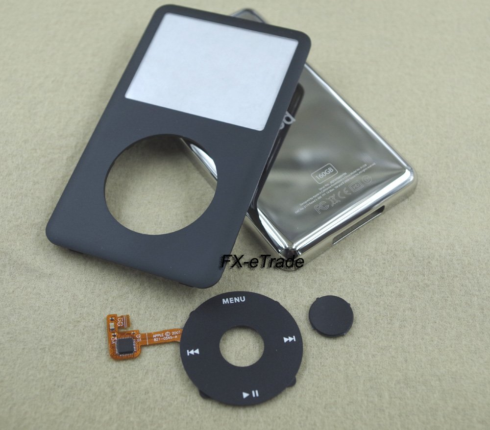 Black Front Faceplate Cover Back Housing Case Clickwheel Button for iPod 7th gen Classic Thin 160GB