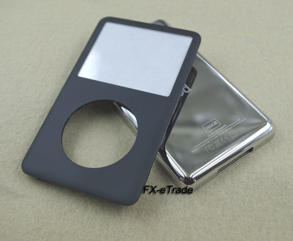 Black Front Faceplate Cover Metal Back Housing Case for iPod 7th gen Classic Thin 160GB