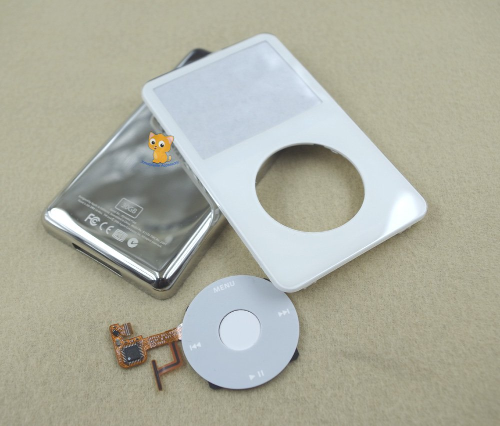 Full Set White Front Faceplate Cover Back Housing Case Clickwheel for iPod 5th gen Video 30GB