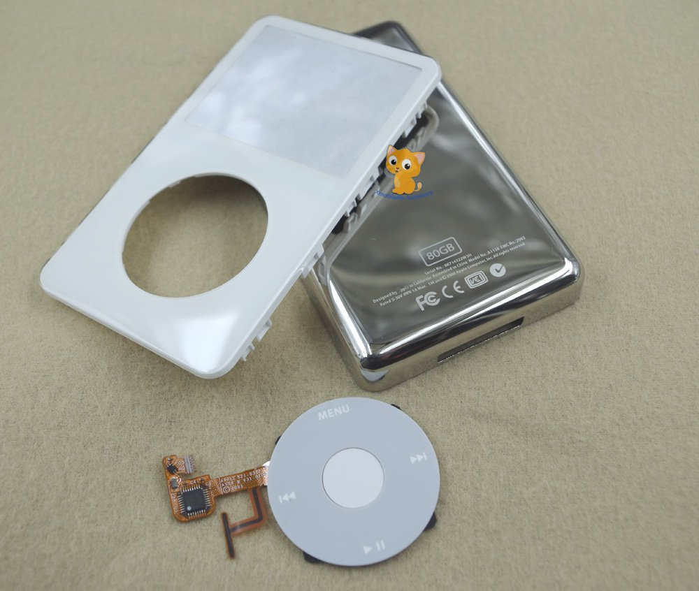80GB Full Set White Front Faceplate Cover Back Housing Case Clickwheel for iPod 5th gen Video
