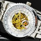 Full Stainless Steel Jaragar Auto Self-wind Men's Mechanical Wristwatch in Black and White