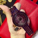 Luxury Golden Purple Stainless Pointer Watch with Spinner Dial, Women's Sports Wrist Watch.