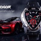 The Jaragar Sport Racing Design Geometric Triangle Design Genuine Leather Strap Men's Watches