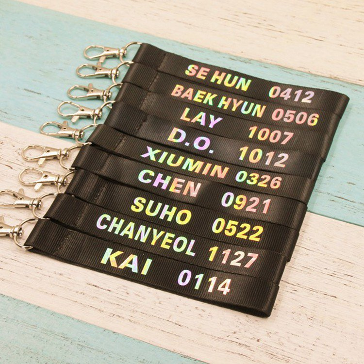 9pcs/lot exo member laser name phone chain with pendent free shipping