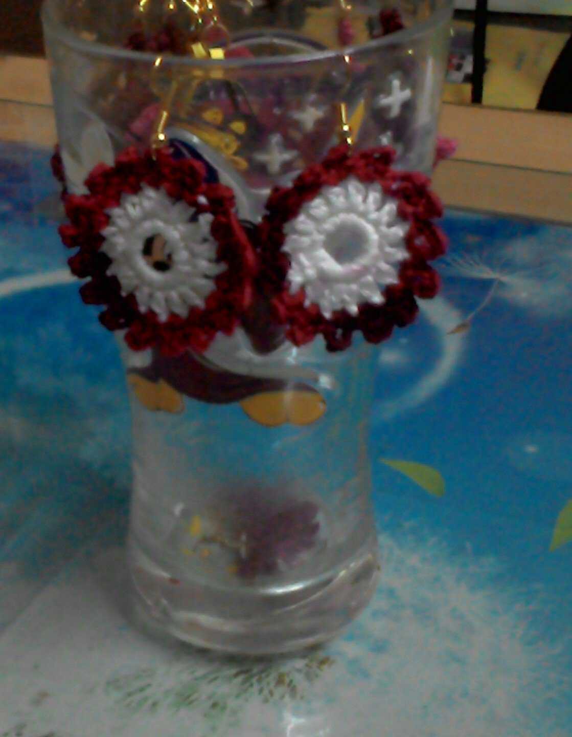 Hand Crocheted round Earring