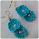 Hand Crocheted blue earrings
