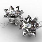 Lotus Flower Earrings - 14k white gold diamond unique flower Stud Earrings ERN-302-1.