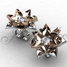 Lotus Flower Earrings - 14k white and rose gold diamond unique flower Stud Earrings ERN-302-5.
