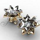 Lotus Flower Earrings - 14k yellow and white gold diamond unique flower Stud Earrings ERN-302-7.