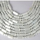 "5 Strands White Monalisa Gemstone Round,Tube 5mm,5x11mm 15"" Long Smooth Beads"