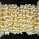 5 Feet Natural Pearl Rosary Style Beaded Chain 24k Gold Plated 3.5-4mm Beads
