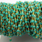 5 Feet Green Turquoise Smooth 3-3.5mm Stone 24k Gold Plated Rosary Beaded Chain