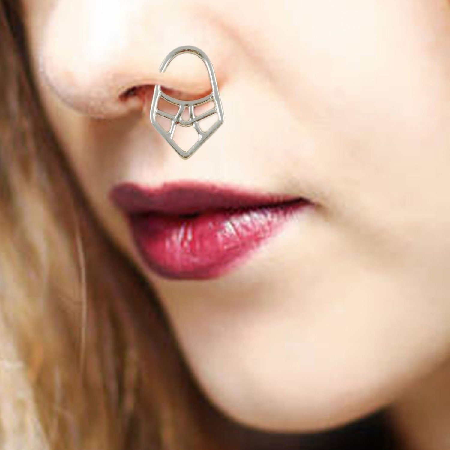 925 Sterling Silver Septum Nose Ring Tribal Jewelry lovely Ring, Nose jewelry