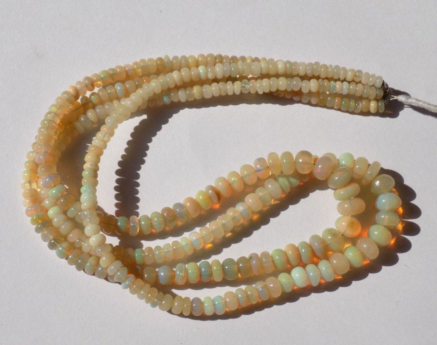 """1 Strand Natural Ethiopian Opal Smooth Rondelle Gemstone Beads 3.5-7mm 16"""" Long"""