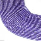 """5 Strands Amethyst Cubic Zircon 3 mm Rondelle Faceted CZ Beads 13.5"""" Long Bead"""
