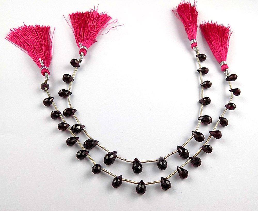 "1 Strand Natural Garnet Drop Shape 6x4-7x5mm Faceted Gemstone Beads 7"" Long"