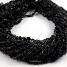 """5 Strands Synthetic Black Stone Free Size Loose Chips Uncut Beads 14"""" Long"""