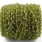 5 Feet Natural Peridot Faceted 3.5-4mm 24k Gold Plated Rosary Beaded Chain