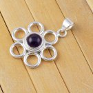Natural Amethyst Cabochon 9mm Round Shape Gemstone 925 Sterling Silver Pendant