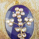 Amazing Dyed Blue Sapphire Gemstone Brass 24k Gold Plated Pendant With Loop