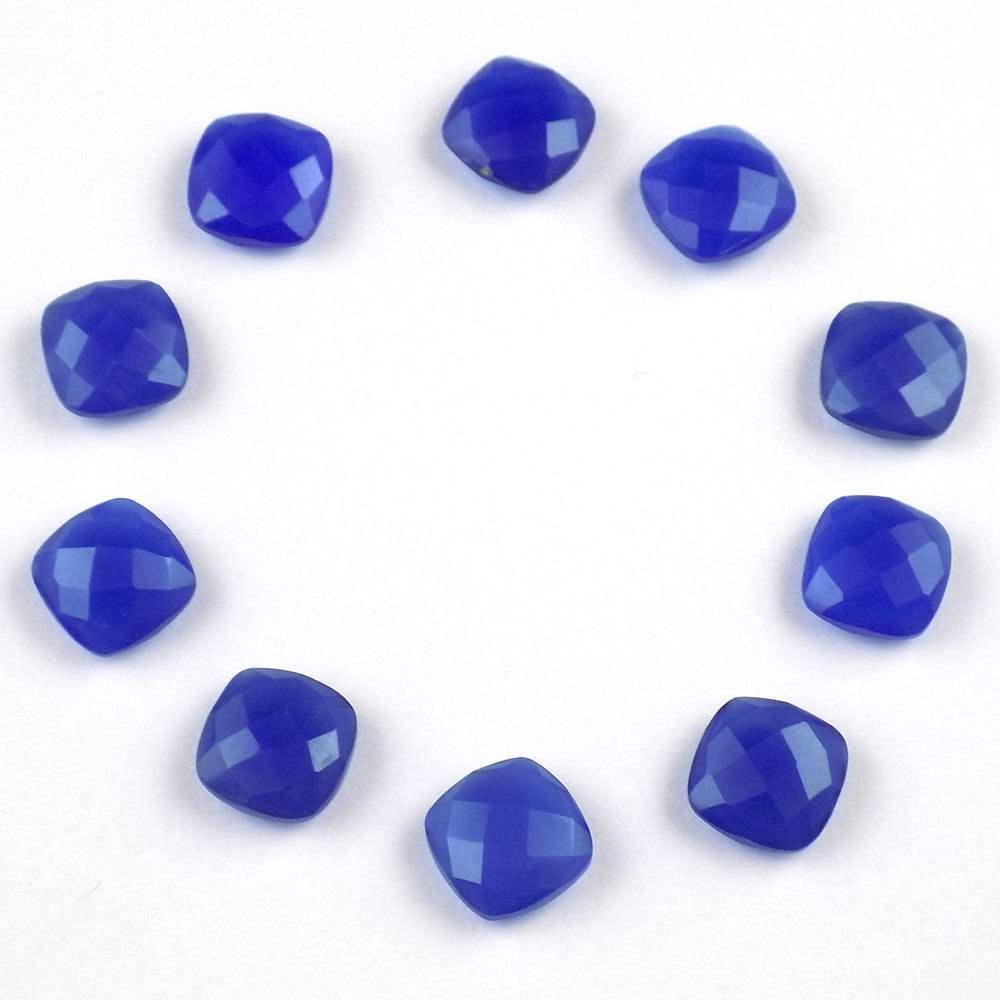 Wholesale 25 Pcs Lot Natural Blue Chalcedony Loose Square Checker Cut Gemstone