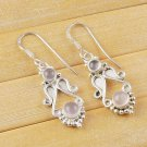 Natural Pink Rose Quartz 4-5mm Round Shape Gemstone 925 Sterling Silver Earrings