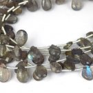 "1 Strand Natural Labradorite Gemstone Pear 5x9-9x12mm Briolette Beads 8"" Long"