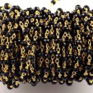10 Feet Black Chalcedony Gemstone Size 4mm 24k Gold Plated Handmade Rosary Chain