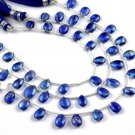 "1 Strand Natural Kyanite Pear Shape Approx- 6x8-7x10mm Faceted Gemstone 8"" Long"