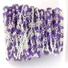 5 Feet Natural Amethyst Faceted 3mm 925 Silver Plated Rosary Bead Chain Jewelry