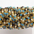 5 Feet Multi Mix Gemstone 2mm Smooth Rondelle 24k Gold Plated Rosary Bead Chain