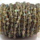 5 Feet Natural Blue Fire Labradorite Heishi 4-4.5mm 24k Gold Plated Rosary Bead