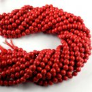 "3 Strand AAA Red Synthetic Coral Smooth Gemstone beads 7-8mm 14""L Handmade Beads"