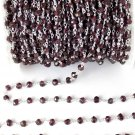 5 Feet Natural Garnet Uneven Faceted 925 Silver Plated 3.5-4mm Rosary Chain