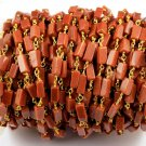 10 Feet Sunstone Rectangle Smooth Drilled 4x6-4x10mm Gemstone Rosary Chain Beads