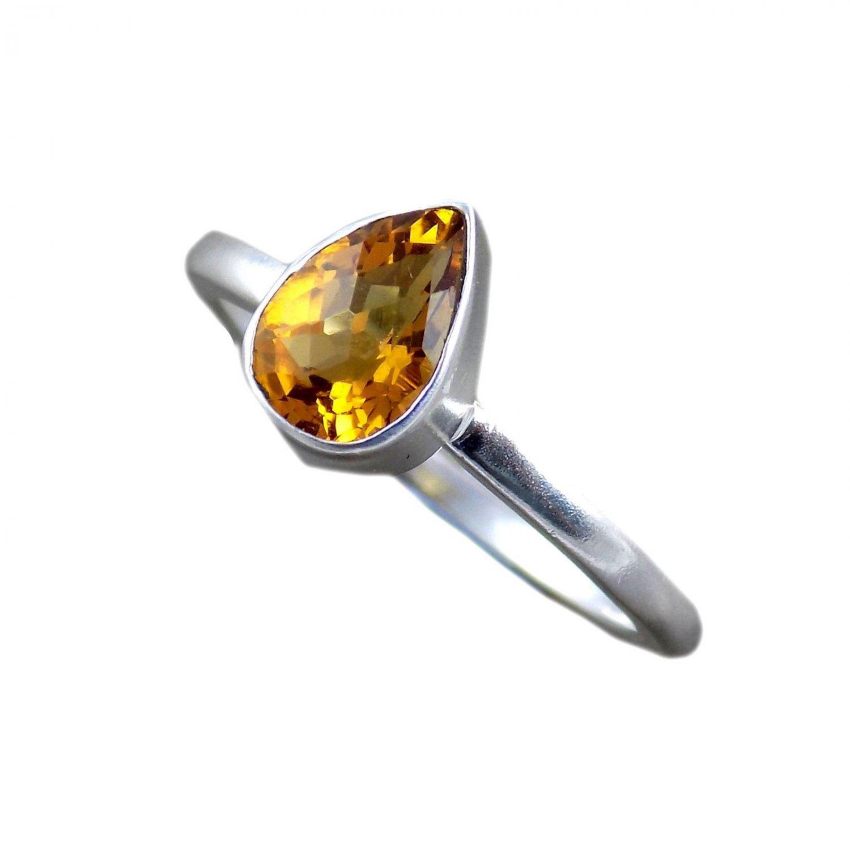 Natural Citrine Faceted Pear Shape Sterling Silver Cut Gemstone Bezel Set Ring
