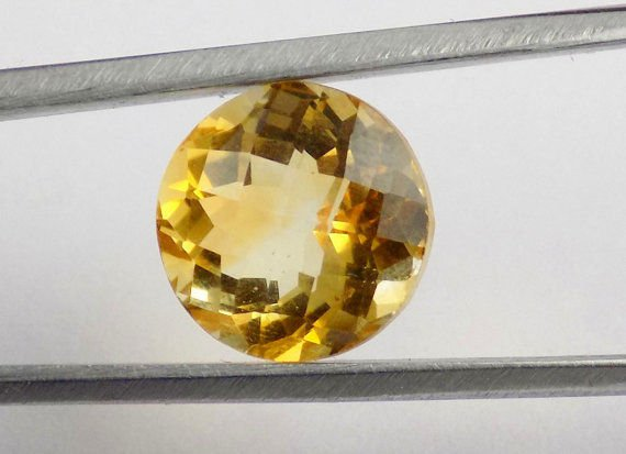 1 Pcs Natural Citrine Round Shape 11mm 5.90Cts Faceted Handmade Loose Gemstone